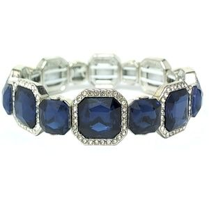 Monet Silver Tone & Blue Stretch Bracelet | 189